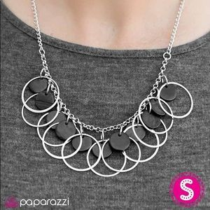 Silver ring around black circles  necklace